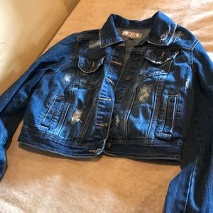 Juniors large denim jacket crop